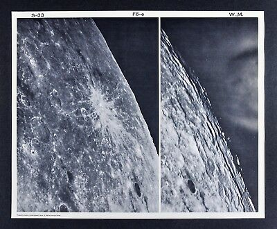 1960 Lunar Moon Photo Map Byrgius F6-e Plate S-33 Wilson & McDonald Observatory