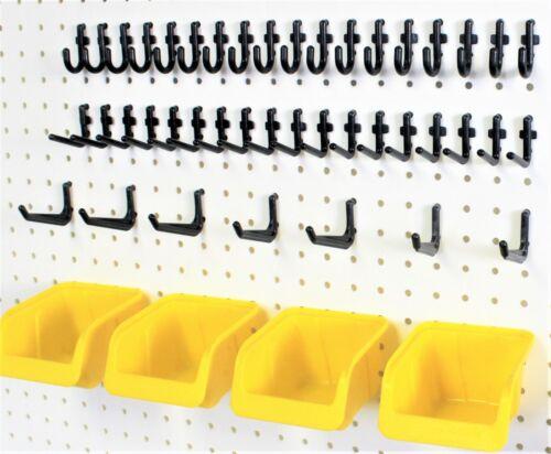 WallPeg 43 pc Peg Hook Kit & Plastic Bins - Pegboard Assortment Organizer 43YB