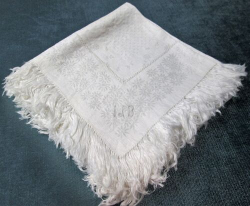8 Antique Fringed Linen Damask Napkins I J B Monogram Daisy Florals Drawnwork