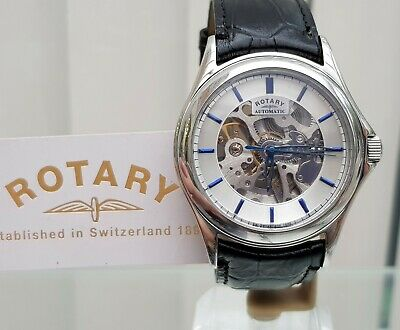 Rotary Mens Watch Skeleton Automatic Watch Black leather Mineral gls RRP£230(R76