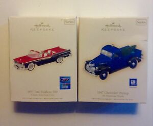 Hallmark   Ford Fairlane 500 and Chevrolet Pickup Christmas Orn