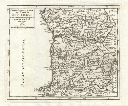 1749 Vaugondy Map of Northern Portugal