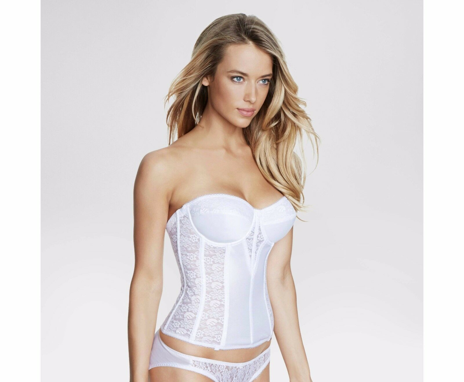 Satin and Lace Torsolette with Floral Detail Bridal Bustier Style 8949