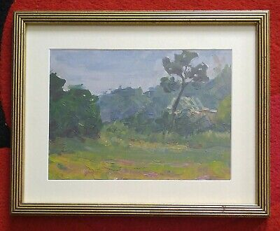 1940s Impressionistic Oil Painting Cabin Barn In Forest Framed Wonderful