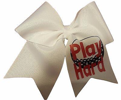 Play Hard Golf White Hair bow](Golf Hair Bows)