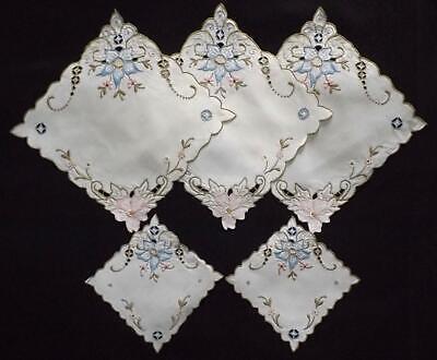 Set of 5 Vintage Irish Linen Madeira Hand Embroidered Mats Doilies Pastel Flower