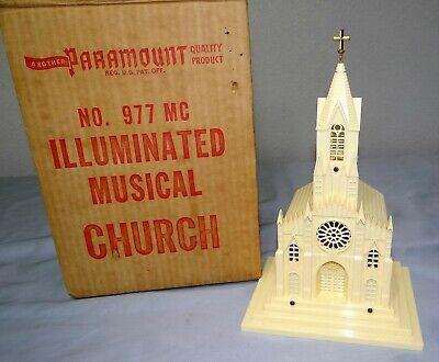 Vtg Raylite Paramount No. 977 Illuminated Musical Church SILENT NIGHT Works MINT