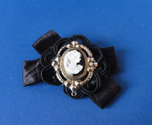 Vintage Silky Ribbon Cameo Mourning Brooch / Pin -
