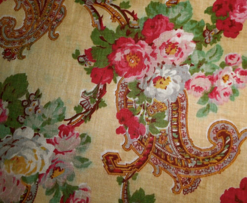 Antique Lg. Scale Paisley Lush Floral Roses Cotton Fabric ~ Magenta Pink Yellow