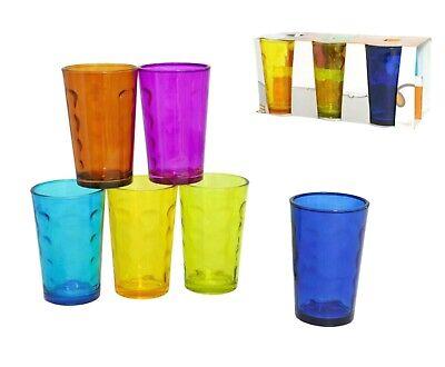 Conjunto De 6 Cristal Vasos Varios Colores Apilables Zumo Agua Gafas 237ml