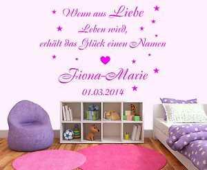 Wandtattoo Aufkleber Spruch Wenn aus Liebe...+ Name Sterne Kinderzimmer Baby W87