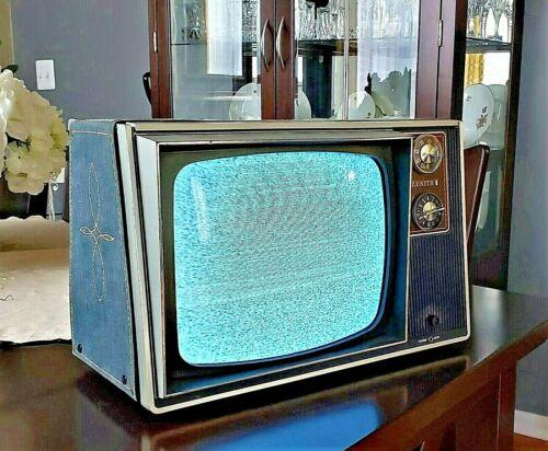 "Vintage ZENITH 12"" CRT B&W TV 1970s Retro Gaming Denim Jeans Television LEVIS"