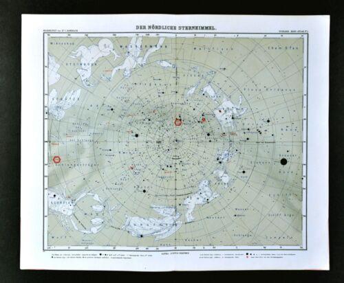 1911 Stieler Map North Sky Star Chart Sirius Polaris Cassiopeia Zodiac Astrology