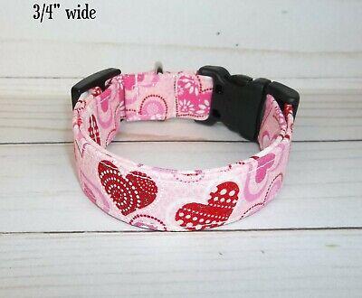 Pink Hearts Love Terri's Dog Collar custom made adjustable Valentine's Day  Heart Adjustable Collar