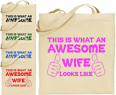 Funny Girl Tote - Awesome Wife Large Cotton Tote Shopping Bag Canvas Funny Girl Christmas Gift