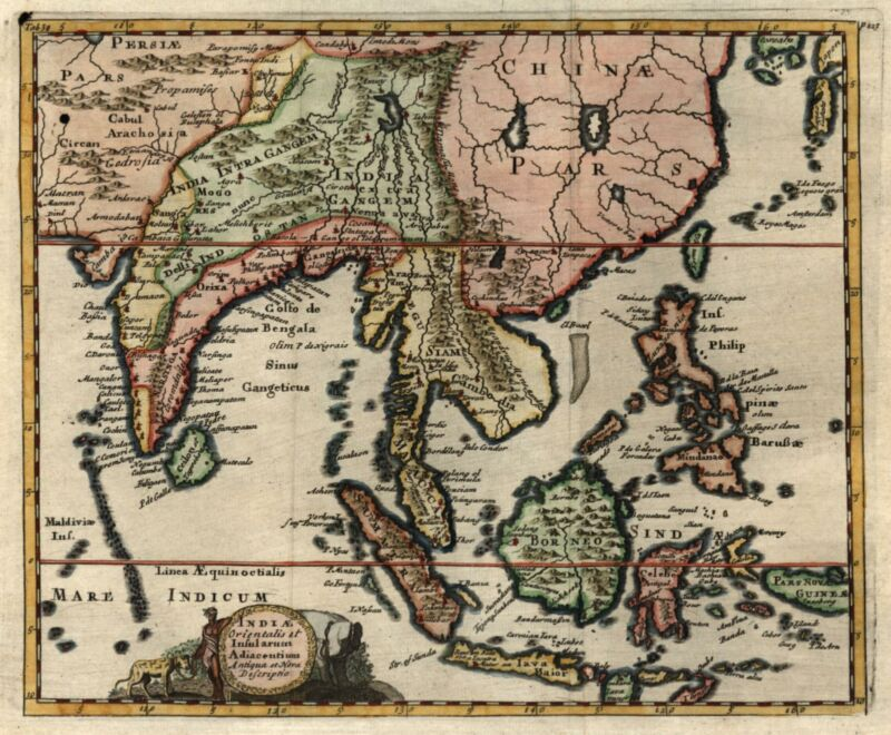India Southeast Asia Indonesia Siam Thailand China 1711 Nicholson engraved map