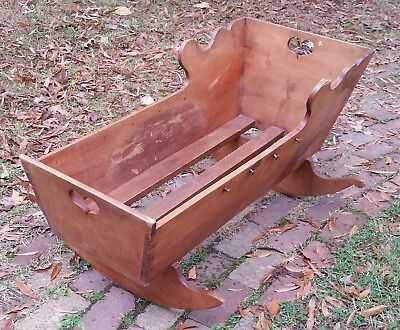 "Pennsylvania dutch wood cradle heart 42""×20""×21"""