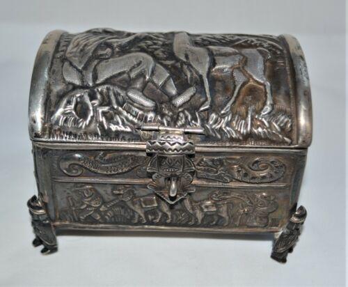 Vintage Peruvian Peru Hand-Crafted Sterling Silver Llama Box Casket