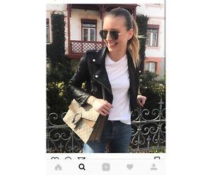 Zara blogger black leather biker jacket xs 6 Docklands Melbourne City Preview