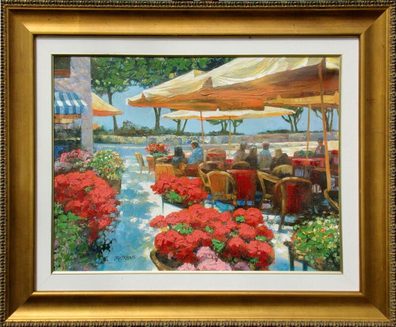 "Howard Behrens ""cafe Ravello"" Hand Embellished Signed Art Giclee On Canvas, Obo"