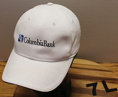 Nice White Columbia Bank Hat Strap Adjustable In Very Good Condition