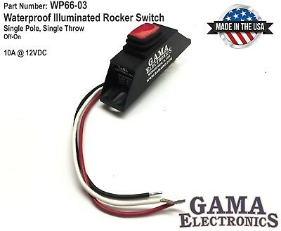 Waterproof Mini Rocker Switch 10a Red Illuminated On-off 12vdc Pn Wp66-03