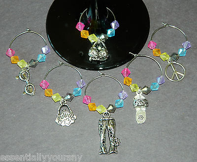 6 Multi Color Acrylic Crystal Silver Wine Glass Charms Drink Marker HIPPIE PEACE