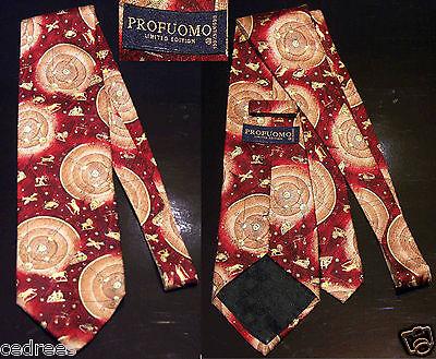 Superbe cravate profuomo zodiaque neuve 100% soie homme chemise costume silk tie