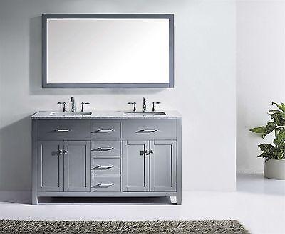 "Caroline 60"" Double Sink Basin Bathroom Vanity Cabinet Marble Top w/Mirror Grey"