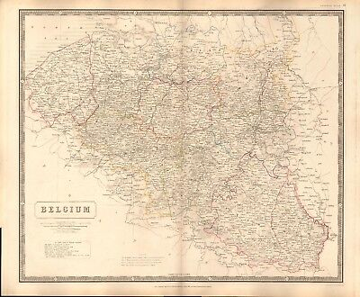1844 LARGE ANTIQUE MAP- JOHNSTON - BELGIUM