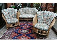 CONSERVATORY CANE 2 SEATER SOFA & 2 CHAIRS