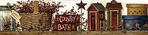 New Primitive Folk Art COUNTRY BATH Outhouse Berry Basket Star Wallpaper Border