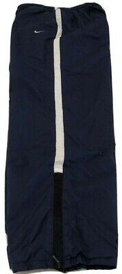 Nike Track Pants Womens XL 18 20 Nylon Ankle Zip Lined Navy Blue Windbreaker