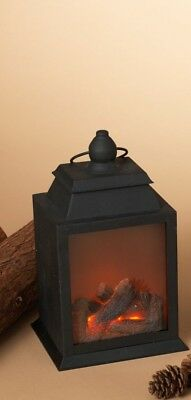 """Used, 10.25"""" B/O LIGHTED METAL FIRE LOG LANTERN w/REALISTIC FLAME XMAS DECOR STYLE 1 for sale  Lawrence"""