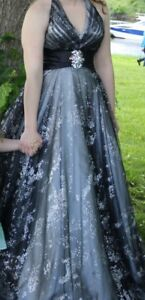 Beautiful black and silver prom dress for sale!