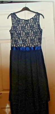 (PROM DRESS NAVY LACE  CHIFFON SKIRT  CALF LENGTH OR FULL LENGTH 12 -14 PRESENT)