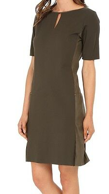 Panel Shift Dress - Tahari 5220M145 Loden Green Stretch Ponte/Suede Panel Shift Dress w/Pockets $148