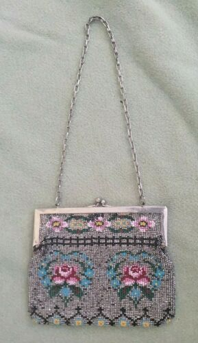 """ANTIQUE BEADED PURSE - ROSES - 4 1/2"""" BY 5 3/4"""""""