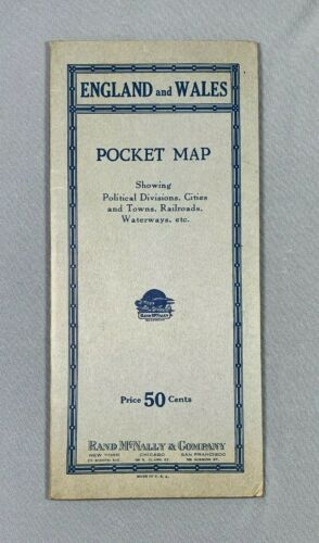 Vintage Rand McNally England And Wales Pocket Map