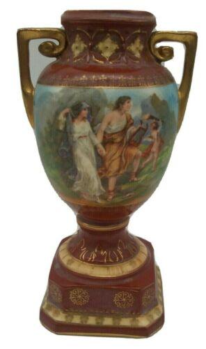 Grecian Urn Art Pottery CHERUB Victorian Vase Czecho Slovakia Porcelain, Handled