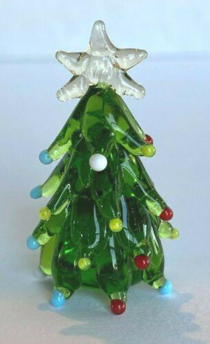 "Miniature Glass Christmas Tree Figurine with Star Winter Christmas 1 3/4""H"