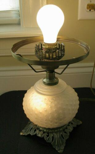 VTG Hobnail Hurricane Parlor Lamp 3 Way Vintage Frosted White Lamp