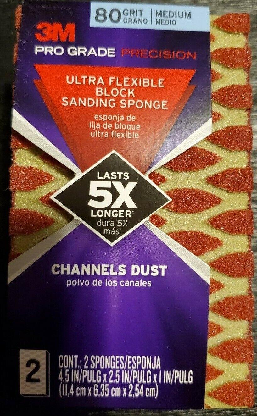 3M Pro Grade Precision Sanding Sponges - 80 Medium Grit - Qt