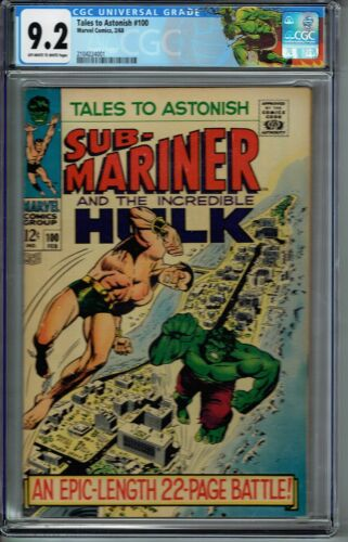 CGC 9.2 TALES TO ASTONISH #100 OW/W PAGES CLASSIC HULK VS SUB-MARINER COVER
