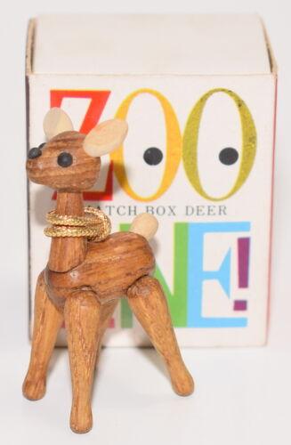 Vintage Zoo Line Match Box Wood Deer Figurine with Box Mid-Century Japan