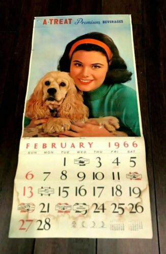 VINTAGE A-TREAT SODA POP BEVERAGE 1966 ADV CALENDAR ALLENTOWN PA GIRL & DOG
