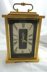 Bulova Quartz Desk Mantle Clock Japan 4RE604 Gold Tone  Alarm Works