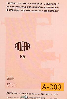 Aciera Type F5 Universal Milling Machine Installation Instructions Manual