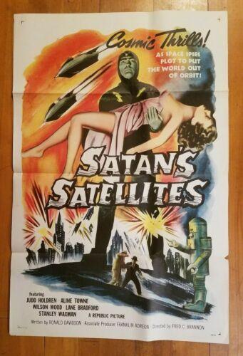 SATAN'S SATELLITES 1958 tri-fold Orig 27x41 1-sheet poster Leonard Nimoy! 58/156