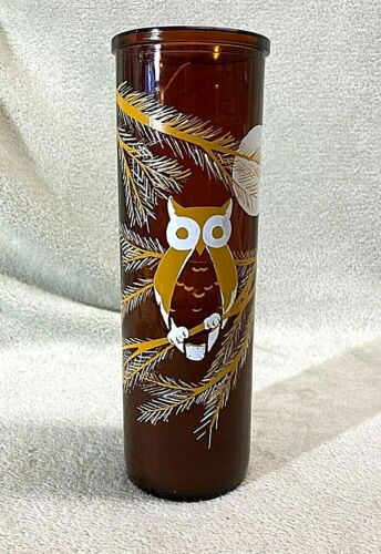 """Vintage 1970s Brown Glass 9"""" Owl Candle - Great Retro Decor Piece"""
